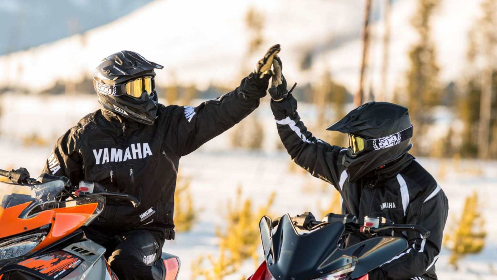 Snowmobilers doing a high five on the trail