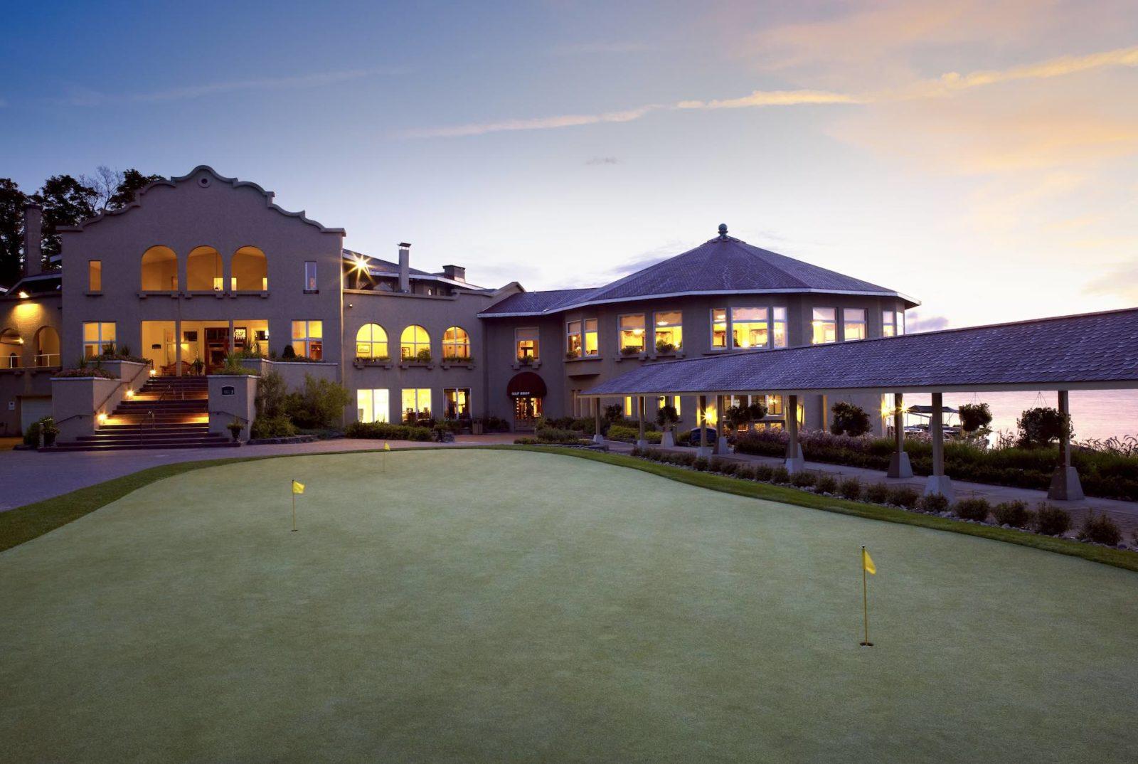 Bigwin Island club house at sunset