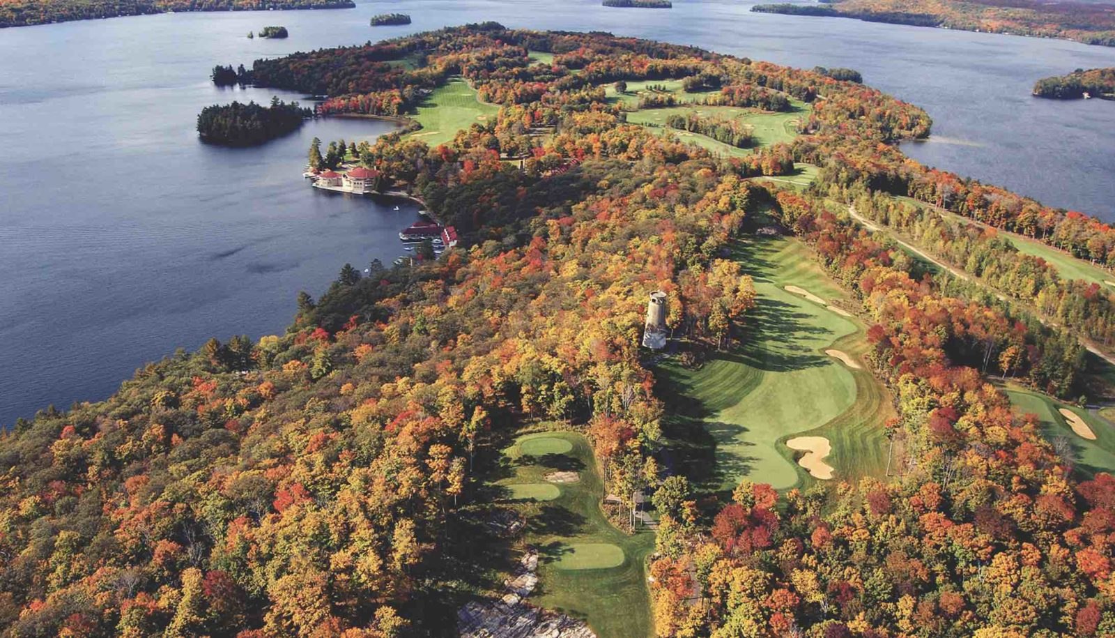 Aerial view of Bigwin Island and golf course on magnificent Lake of Bays