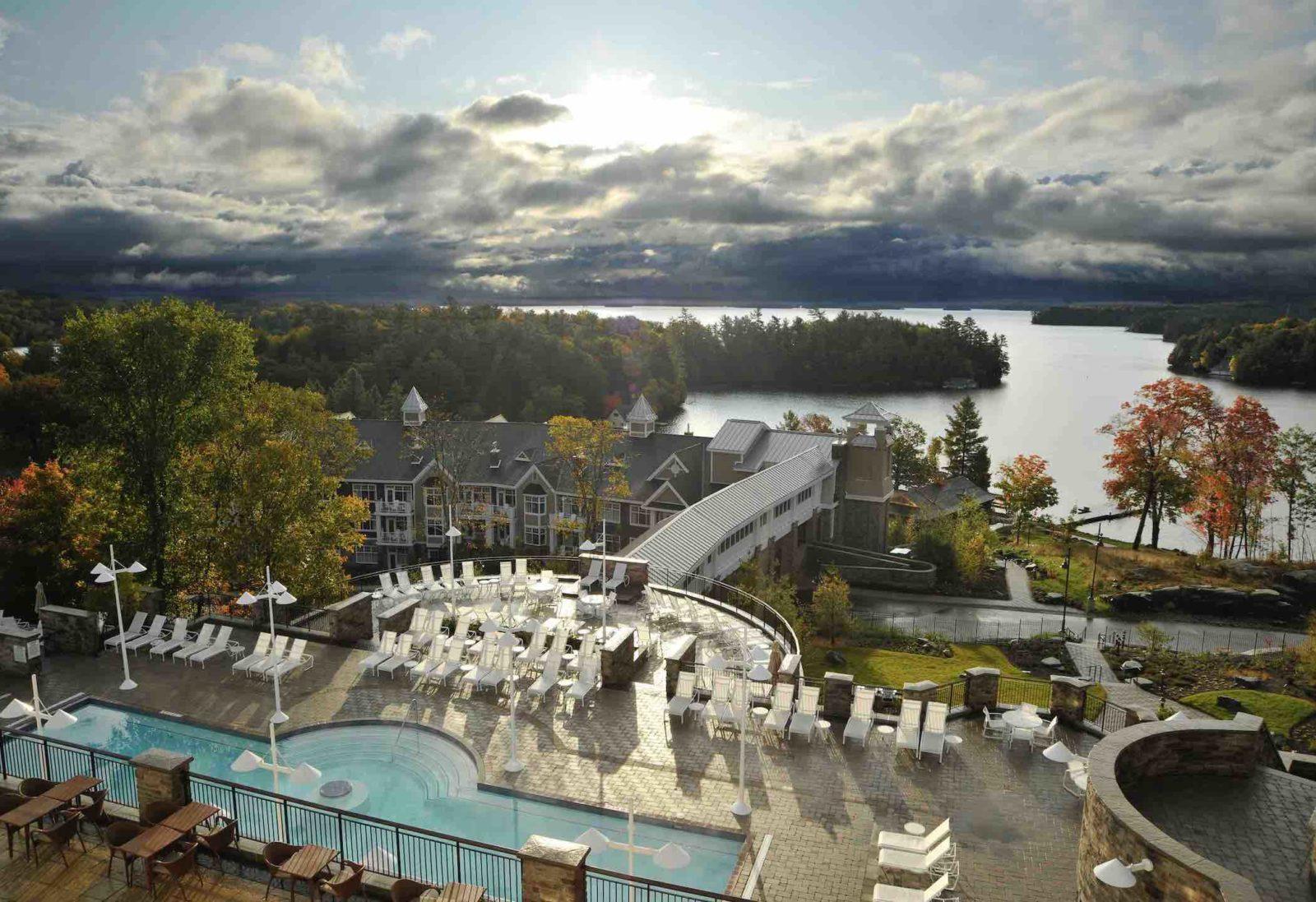 JW Marriott Rosseau Resort aerial view of one of the top Luxury Muskoka resorts