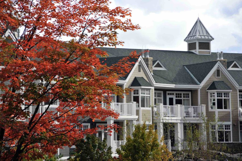 The JW MArriott Rosseau resort seen in the fall and one of the top Muskoka resorts year round