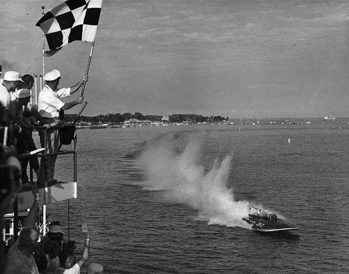 An old photo of Miss Supertest winning a race