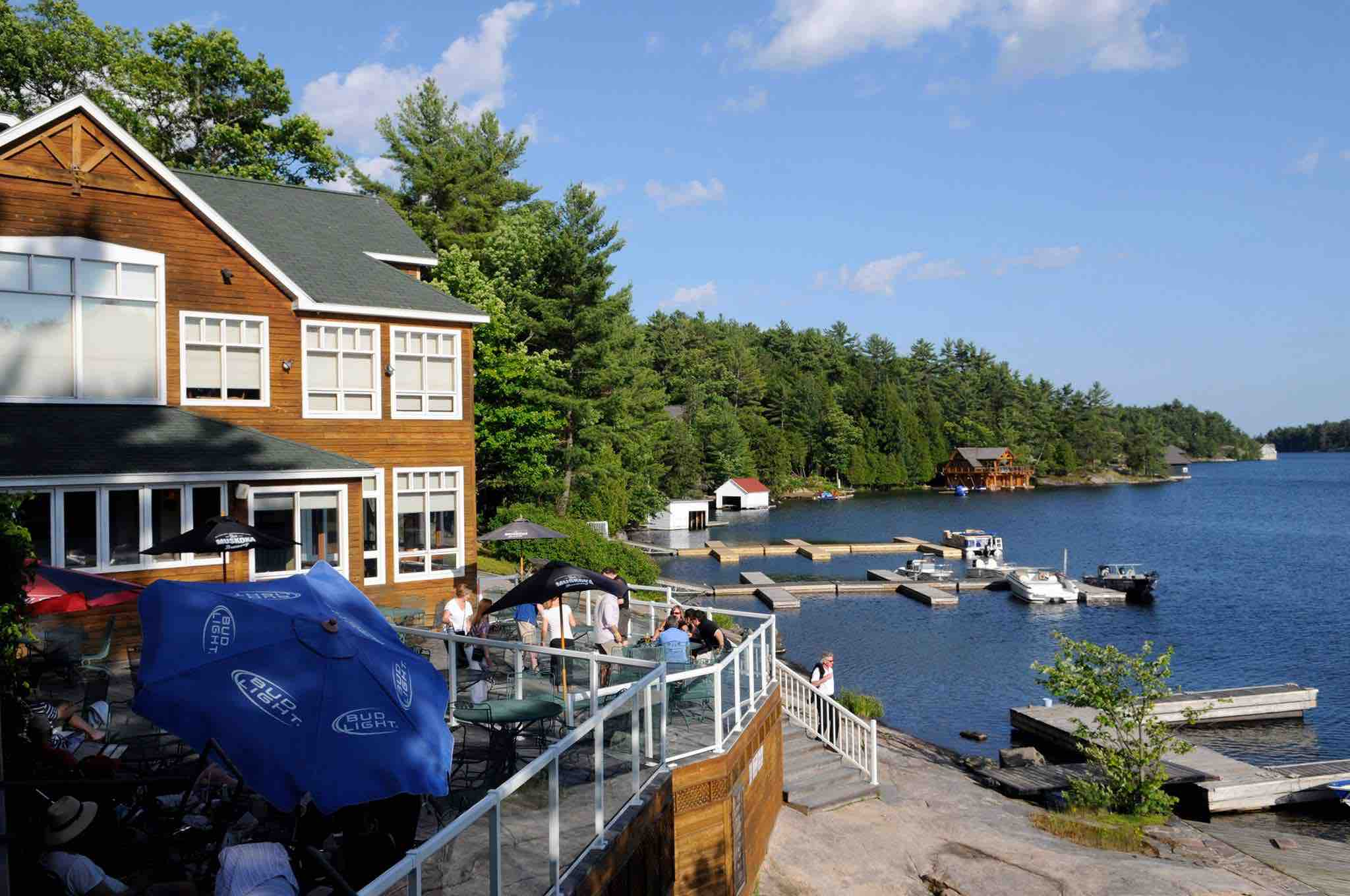 One of the best luxury Muskoka resorts is Rocky Crest shown here in summer overlooking the lake