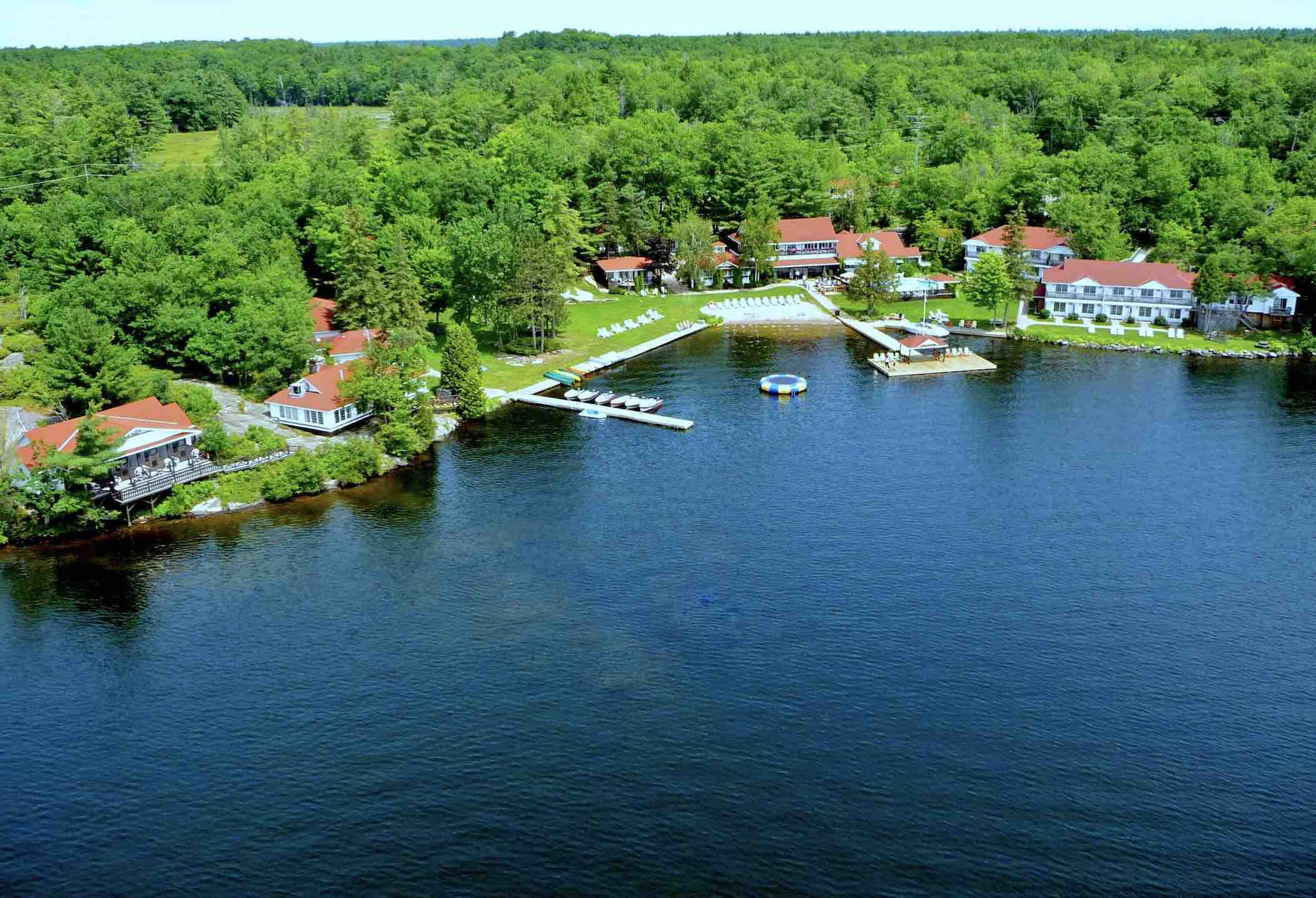 Port Severn Lodge seen here from the air is one of the top rated luxury Muskoka resorts