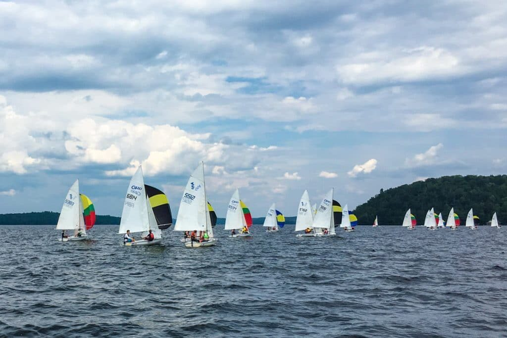 Marvellous Lake of Bays Sailing Club with sail boats gathered on the lake