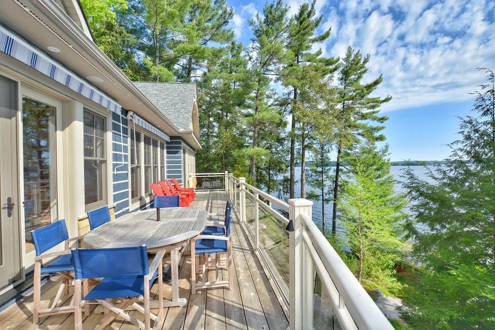 MFI-Muskoka COttages by Marlene with Muskoka chairs on deck and lake views