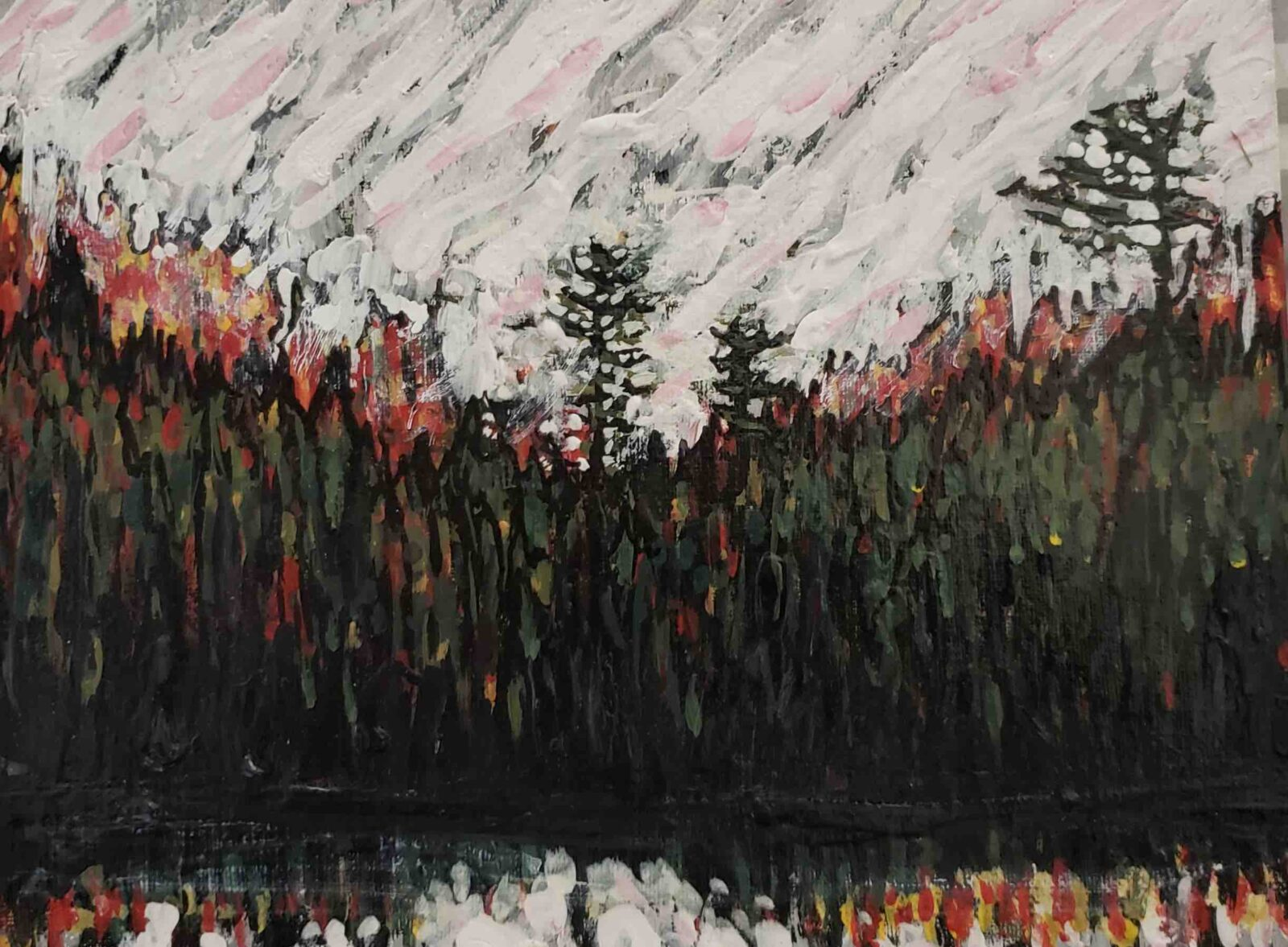 Muskoka Art Events painting of trees and lake