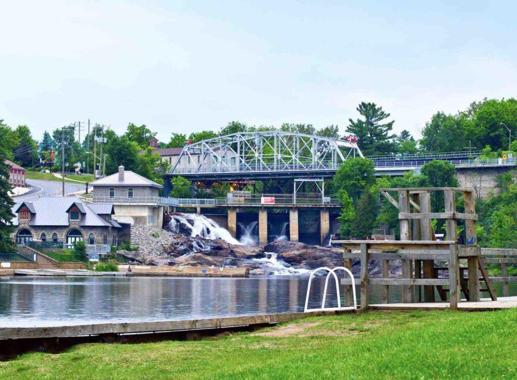 Luxury Living in Bracebridge Ontario - Bracebridge Waterfalls in summer
