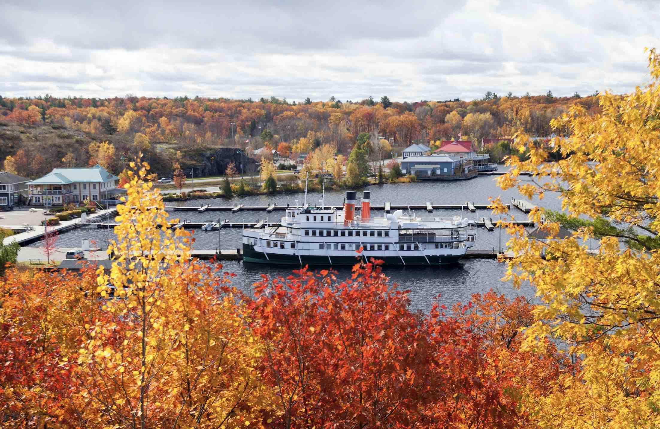 Muskoka Wharf in Fall with steamships-cool885-Shutterstock - living in Gravenhurst Ontario